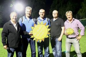 Günther Eichelmann (Geschäftsführer Dorena), Martin Kistler (Kassier), Georg Vetterl (1. Vorsitzender), Stefan Müller (3. Vorsitzender) und Gottfried Obermair (Vorsitzender ZIEL 21)
